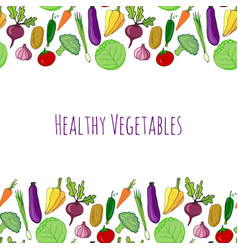 Vegetable hand drawn colorful background isolated vector