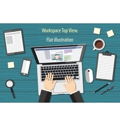 workplace - top view - flat design - laptoop blue vector image vector image