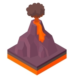 Volcano erupting icon cartoon style vector
