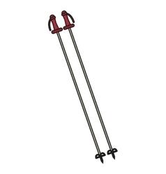 Isolated ski poles design vector