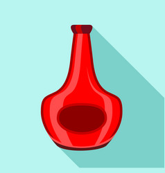 red glass bottle for alcohol icon flat style vector image