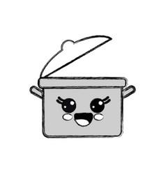 silhouette kawaii nice happy cooking pot vector image