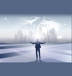 business man silhouette over world map trip flight vector image