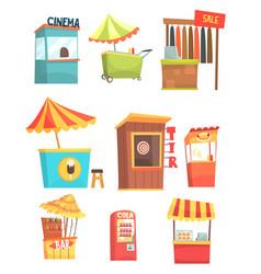 fair and market street food and shop kiosks small vector image