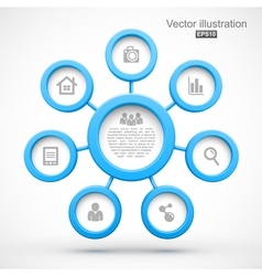 Abstract network with circles 3d vector