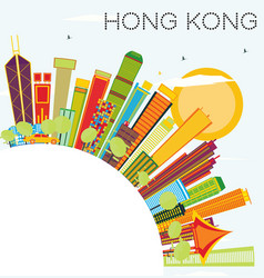Hong kong skyline with color buildings blue sky vector