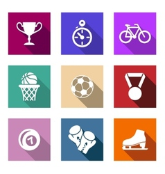 Flat sporting web icons vector