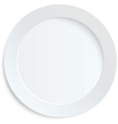 Empty white plate on white background vector image
