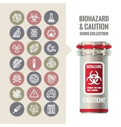 Biohazard and caution icons collection vector