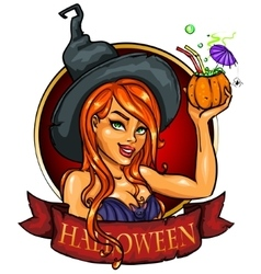 Witch with pumpkin cocktail label vector