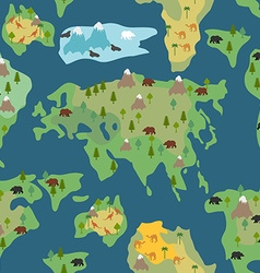 Continents seamless pattern world map is endless vector