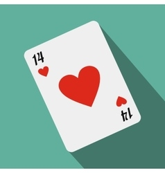 Playing card with red heart vector