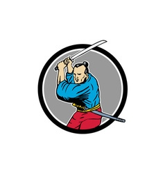 Samurai warrior katana sword circle drawing vector