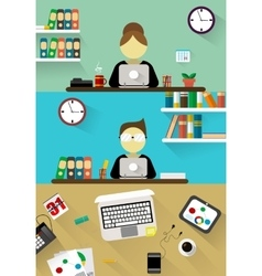 Flat design corporate business team people vector