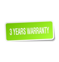 3 years warranty green square sticker on white vector