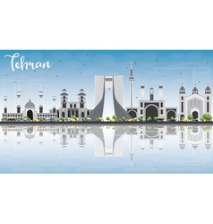 Tehran skyline with gray landmarks blue sky vector