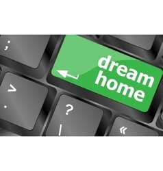 Computer keyboard with dream home key - technology vector