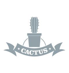 Arizona cactus logo simple gray style vector