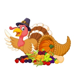 Cartoon turkey with horn of plenty isolated vector