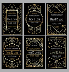 Classy wedding invitation cards with diamond vector