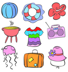 Collection stock summer element doodle set vector