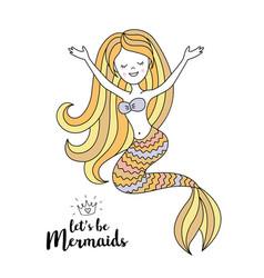 cute little mermaid under the sea vector image