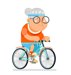 Cycling fitness granny adult healthy activitie vector
