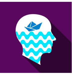 Dreaming brain icon flat style vector