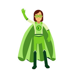 Ecological superhero woman standing and waving his vector