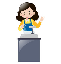 female clerk working behind the desk vector image vector image