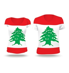 Flag shirt design of lebanon vector