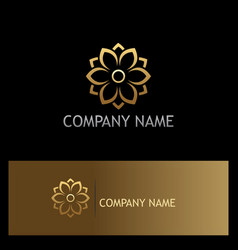 Gold flower beauty logo vector
