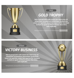 Gold trophy for victory business vector