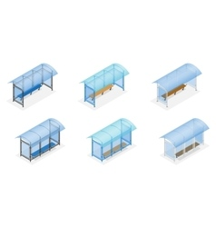 Isometric bus stop on the white background public vector