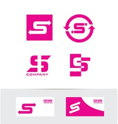 Letter s pink logo set icon vector
