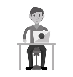 Monochromatic young man using laptop on desk vector