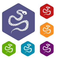 Python snake icons set hexagon vector