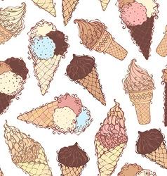 Seamless ice-cream pattern vector image