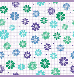 Seamless pattern with flowers in cool colors vector