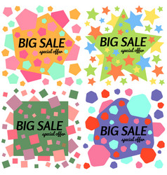 Set of big sale special offer square banners vector