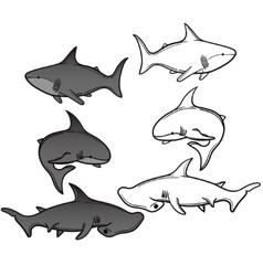 Set of cartoon shark vector