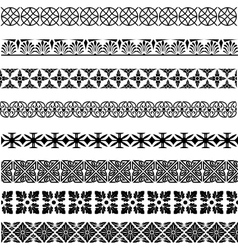 Set of seamless vintage borders in different vector image vector image