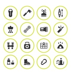 Set round icons of camping vector