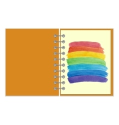 Spiral notebook with watercolor rainbow vector