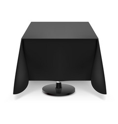 Square dining table with black tablecloth and vector