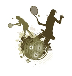 tennis girl silhouettes vector image vector image