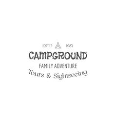 Vintage family camping badge outdoor logo emblem vector