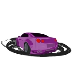 Violet cartoon sport car back view vector