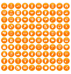 100 different gestures icons set orange vector
