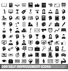 100 self improvement icons set simple style vector